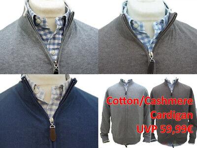 Kashmir Herren Cardigan Pullover Zip Strick Jacke Cotton/Cashmere UVP 59,99 NEU