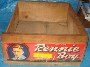 BH177 Vtg Rennie Boy Grape Fruit Wood Wooden Crate Box