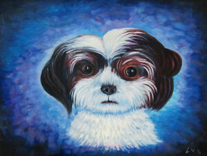 hand painted Oil Painting on Canvas NEW - puppy portrait CUTE! Kitchener / Waterloo Kitchener Area image 1