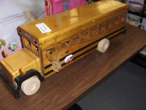 Hand Crafted Wooden School Bus