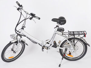 Electric folding pedal bike features a comfortable leather seat