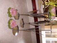 3 CANDLE HOLDERS WITH CANDLES