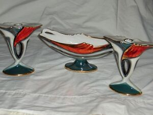 Italian Porcelain set of 3 tricolure candlesticks La Fiamma2148 West Island Greater Montréal image 3