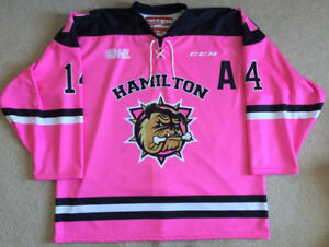 Hamilton Bulldogs Pink In The Rink Petti Game Issued Jersey