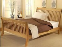 Super King Sized Oak Sleigh Bed
