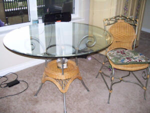Bevelled Glass Table on Pewter/Rattan Base  ( and Baker's Rack )