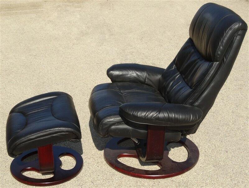 Danish Modern Black Leather LANE Stressless Style Lounge Chair & Ottoman