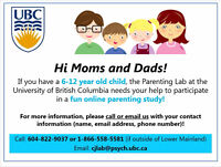 Hi Moms and Dads! Participate in an Online Study and receive $15