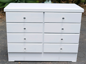 8 Drawer Lowboy In High Gloss White (Refurbished As New)