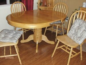 Dining Room Set with built in leaf & 6 chairs & cushions-reduced