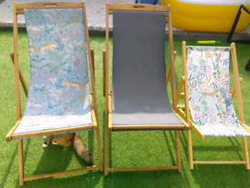 Solid wood deck chairs from argos