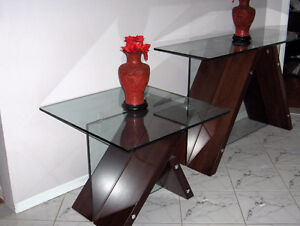 MATCHING MAHOGANY / GLASS TABLES West Island Greater Montréal image 1