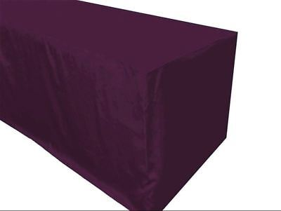 4 Ft. Fitted Polyester Table Cover Trade Show Booth Tablecloth Eggplant Purple