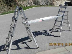 Two multi-function ladders with aluminum plank