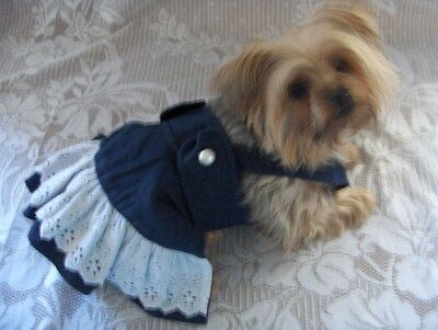 Dog Girl Clothes Jean Jumper/Dress Choice of 3 Sizes XXS XS S