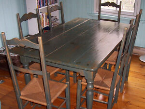 Table de cuisine Antique Familiale avec 6 chaises