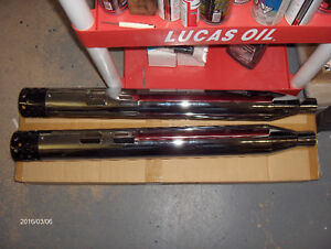 "New Chrome Muffler Set with Shooter Style End Tips. ""Headlights"""