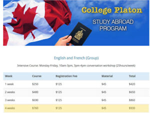 One month French or English course at College Platon.