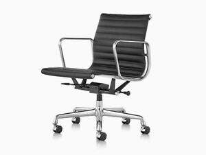 Herman Miller, Eames Aluminum Group Chair with Lift, Leather