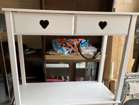 White Desk with 2 heart draws £55. Real Bargains Clearance Outlet Lei