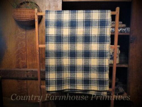 Antique Homespun Wool Blanket Section | Indigo Blue & Cream