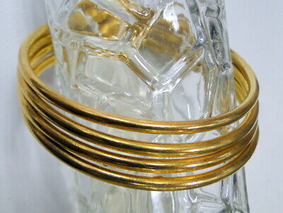 18 karat gold vermeil sterling silver solid bangle bracelet 4 pcs