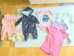 Baby Girl Cute (0-3m.) Clothes (5 = $1.60ea.) JETS (Free Hat)