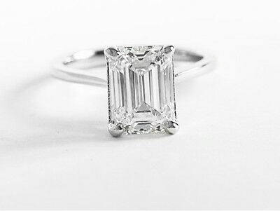 Lovely 1.20 ct. Emerald Cut Diamond Engagement Solitaire GIA H, VVS2 14k WG