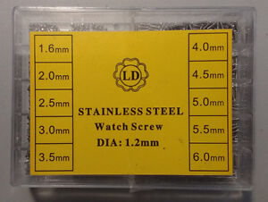Stainless Steel Watch Glasses Screws in box various sizes