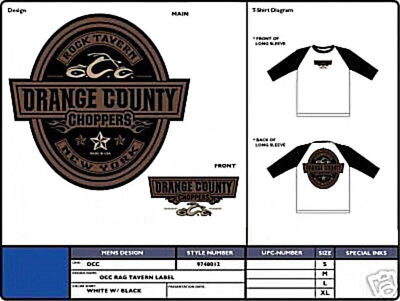 Orange County Choppers Tavern Label 3 4 Sleeve T Shirt Occ Authentic Licensed