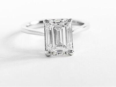 Classic 0.70 ct. Emerald Cut Diamond Engagement Solitaire GIA E, VS2 14k WG 1