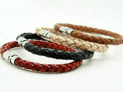 Men's Women's Silver Stainless Steel Magnetic Clasp Braided Leather Bracelet Bracelets