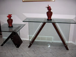 MATCHING MAHOGANY / GLASS TABLES West Island Greater Montréal image 2