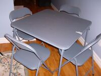 CARD TABLE AND FOUR CHAIRS