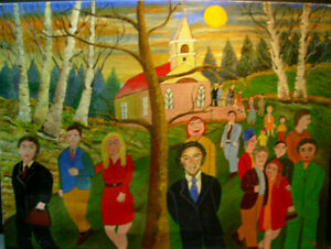 "Bill Male Quebec Folk Art Painting  24"" x 18"""