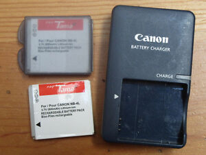 Canon battery charger and two batteries (Canon Elph)