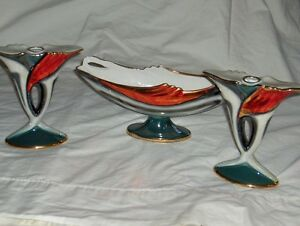 Art Deco style Italian porcelain set of three candlesticks West Island Greater Montréal image 3