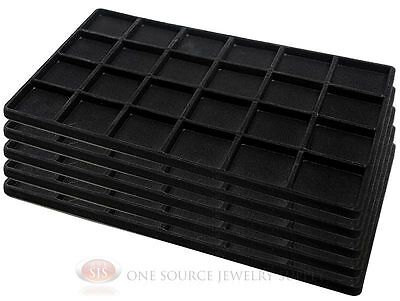 5 Black Insert Tray Liners W/ 24 Compartments Drawer Organizer Jewelry Displays