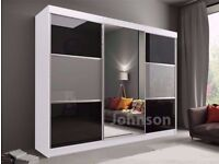 🔥💥 SALE ENDS SOON 💗💖 70% OFF❤❤ BRAND NEW GERMAN RUMBA 2 Door Sliding Wardrobe in Black Or White