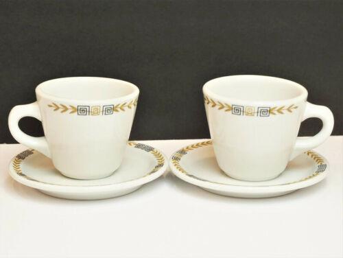 Shenango Cups Saucers White Restaurant Ware Geometric Black Gold Olive Leaf Trim