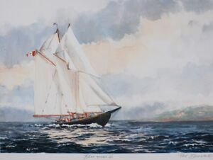 PRINT OF FAMED BLUENOSE II, UNFRAMED,