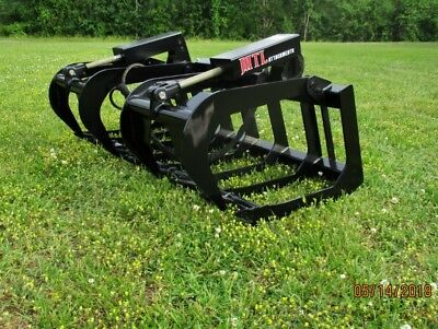 2019-mtl Attachments Hd 66 Skid Steer Root Grapple Bucket Twin Cyl-quick Attach