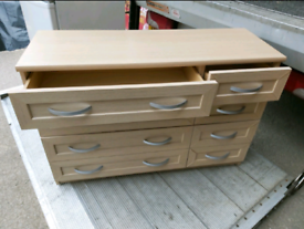 Chest of Draws - Quality 8 Drawer Light Coloured MDF Chest of Draws. T