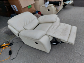 Recliner Chair - Extra Comfy Soft Creamish Leather Electric Recliner C