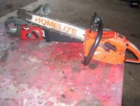 Two Homelite chainsaws (parts or fix)