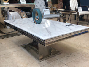Marble Top Coffee Table with Silver Stainless Steel Base