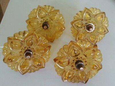 4 matching Beautiful Amber Glass flower curtain tiebacks Victorian style (4EB)