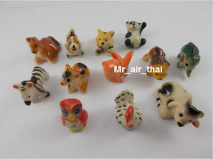 lot of 12 Miniatures Animals Figurines Collection Painted Ceramic Porcelain doll