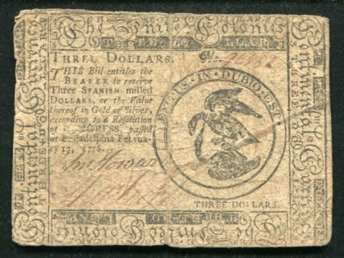 CC-25 FEBRUARY, 17 1776 $3 THREE DOLLARS CONTINENTAL CURRENCY NOTE