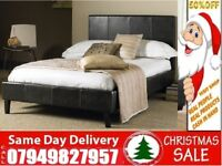 BRAND NEW KING SIZE SINGLE DOUBLE LEATHER STYLE Bed With Mattress taha